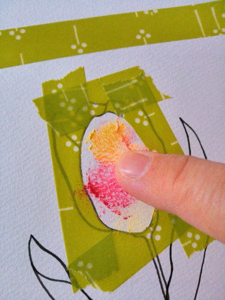 パステルとマスキングテープで塗る方法