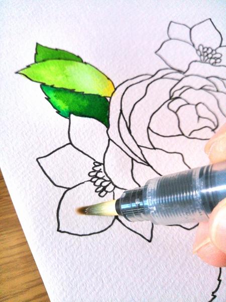 水彩毛筆描き方