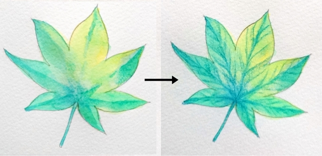 葉っぱの葉脈の書き方