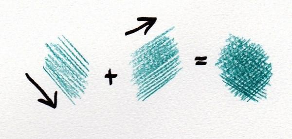 色鉛筆の基本的な描き方 カケアミ